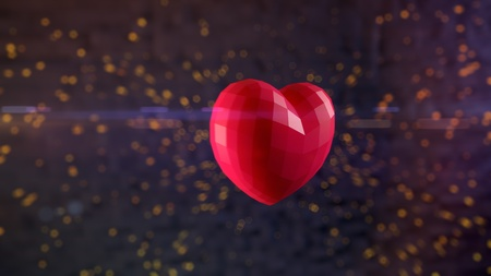Ultra-high resolution 164th frame of 3D animation of Ruby heart bursting with sparks in slow-motion with shallow depth of field and anamorphic flares
