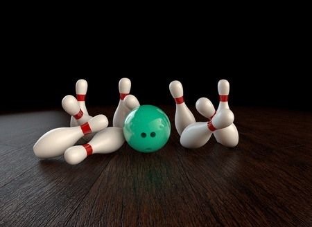 Ultra-high resolution 54th frame of  3D animation of ten-pin bowling strike Stock Photo