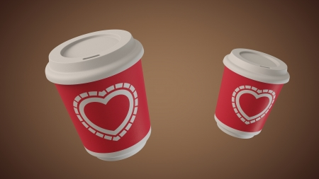 Ultra-high resolution 130th frame of 3D animation of Bouncing coffee take away cups with hippie Hearts labels Stock Photo