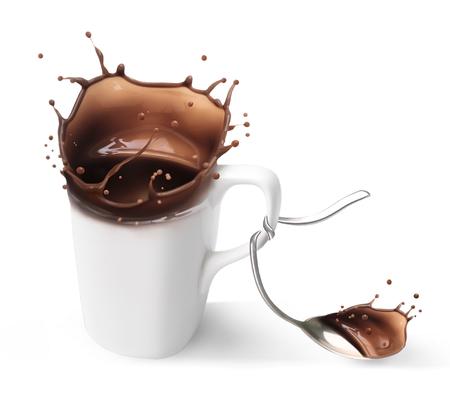 hot milk chocolate. Surrealistic cup of hot chocolate or coffee. Фото со стока