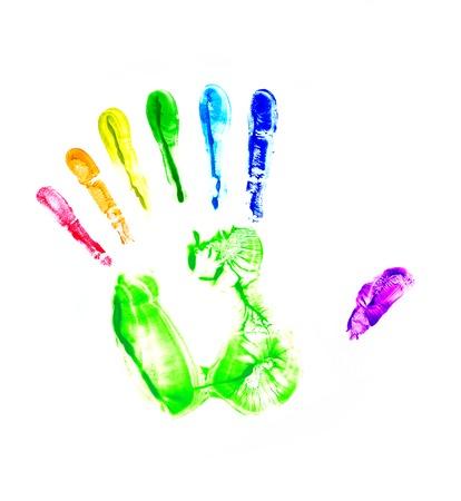 hand print: rainbow hand print. Seven fingers Stock Photo