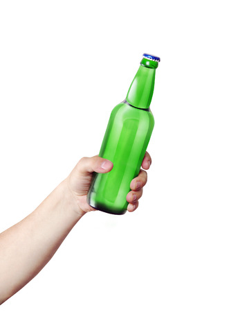 hand holding bottle: Hand holding a bottle. Template for the ability to use any brand label on a white background Stock Photo