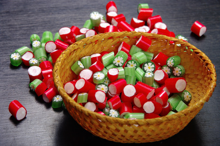 sweetest: Set of colored candies in a bowl handmade