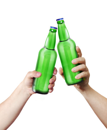 brand label: Clink glasses. Two hands holding a bottles. Template for the ability to use any brand label on a white background Stock Photo