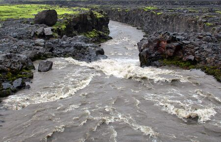 seson: Waterfall in Iceland summer seson. Stock Photo
