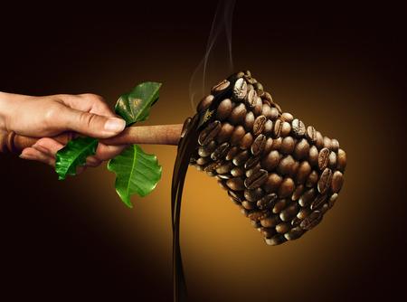 コーヒー メーカー。エコスタイル ゴールデン暗い背景の上でコーヒー豆から成っているコーヒー メーカー