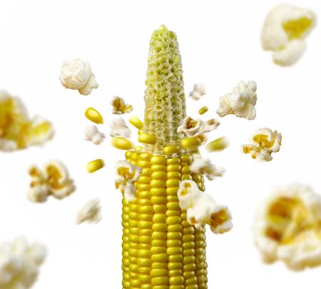 トウモロコシの穂軸が爆発し、ポップコーン健康な菜食主義の食糧を作り出す