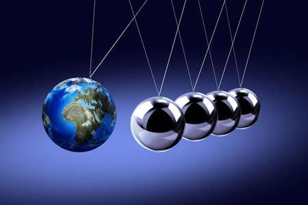 リスク、ダイナミクス、脆弱性などを象徴する地球としてニュートンの振り子。濃い色の背景に