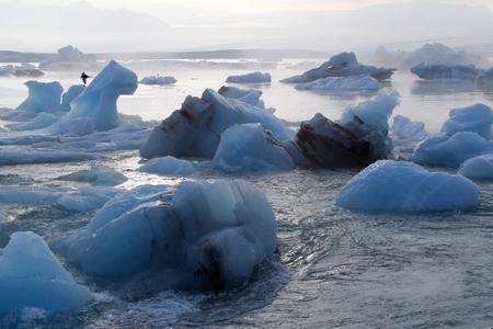 アイスランド北部の海で自然の氷山