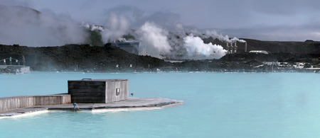 therapy geothermal: Bathing in The Blue Lagoon. Iceland. The thermal lake.
