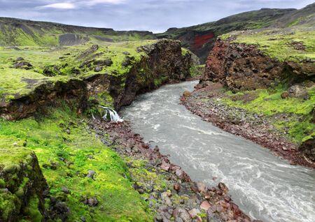 アイスランドの谷。北極圏の幻想的な自然 写真素材