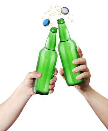 clink: Clink glasses. Two hands holding a bottles. Template for the ability to use any brand label on a white background Stock Photo