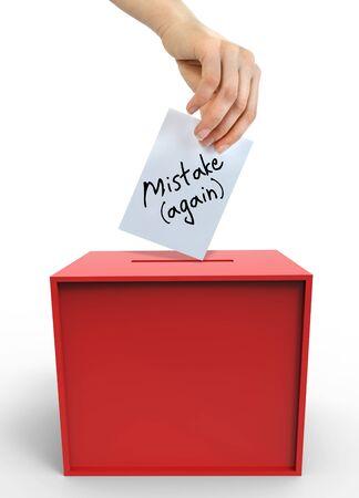 voting box: Frustrazioni elettorale con la scatola di voto e la mano Archivio Fotografico