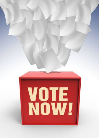 voting box: Scuoiamento di carta sulla casella di voto lilustrated in 3d Archivio Fotografico