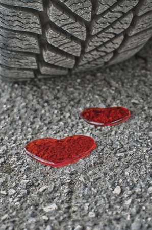 Car tire and two red hearts  Dont drink and drive  photo