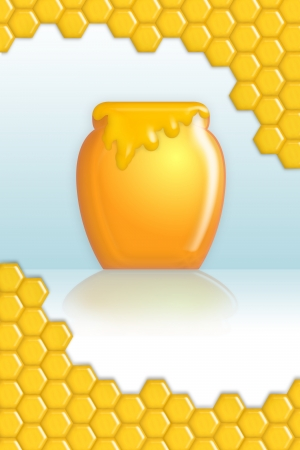 honeyed: Honey with pot and comb for presentation.