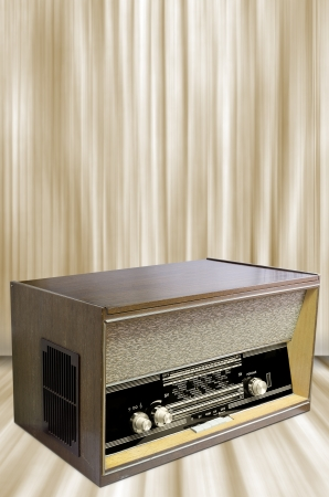 modulator: Radio from sixties with vintage background.