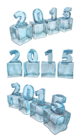 New year 2015 calendar on ice, water cube. photo