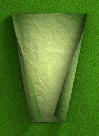 unfold: Curl paper in green grass Stock Photo
