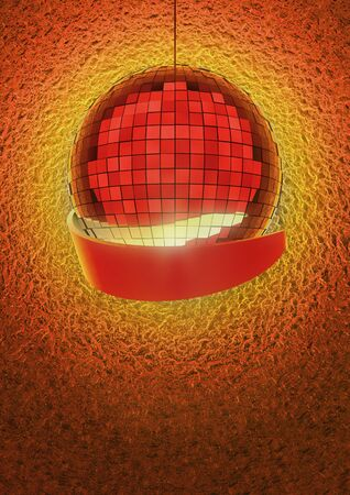 dancefloor: Golden disco ball with red banner Stock Photo
