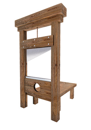 guillotine: Wooden guillotine isolated on white background Stock Photo