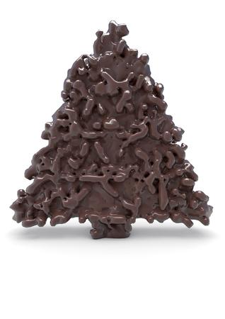 cioccolato natale: Cioccolato albero di Natale isolato su sfondo bianco.