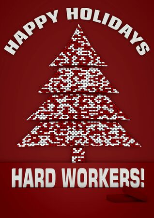 seasonal worker: Christmas brick tree on red background.
