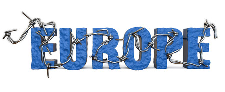 barb: Europa barb wire letters. Europa in terrorism. Stock Photo