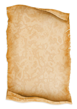 vellum: Parchment scroll paper isolated on white background.
