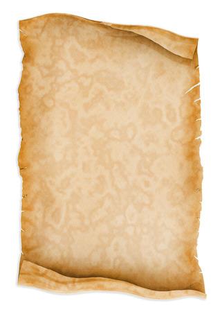 Pergamentrolle Papier auf weißem Hintergrund.