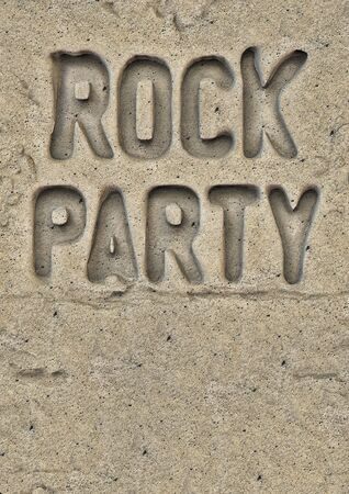 hardcore: Rock party flyer engraved in stone. Stock Photo
