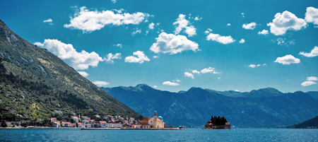 A little town in Montenegro - Perast, a view from yacht Stock Photo