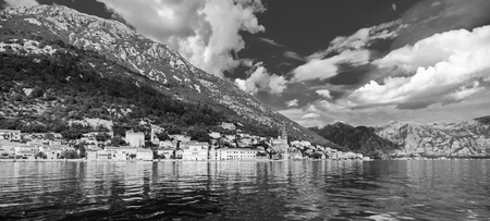 A little town in Montenegro - Perast Stock Photo