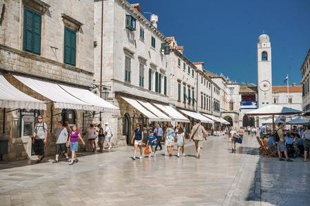 DUBROVNIK, CROATIA - JUNE 24, 2010: Stradun, main street in Dubrovnik, Croatia. Dubrovnik is one of the prominent tourist destinations on the Mediterranean.