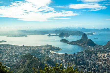 A view on Sugar Loaf from Corcovado mountain in Rio de Janeiro