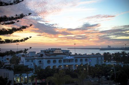 Agadir, Morocco, September 30, 2014. Decameron hotel in sunset. Resort city Agadir Editorial