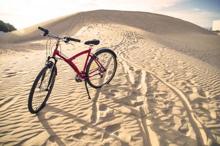 off road biking: Bike in desert Stock Photo