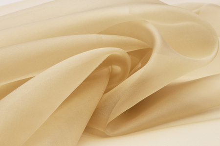Silk fabric, beige organza. 版權商用圖片