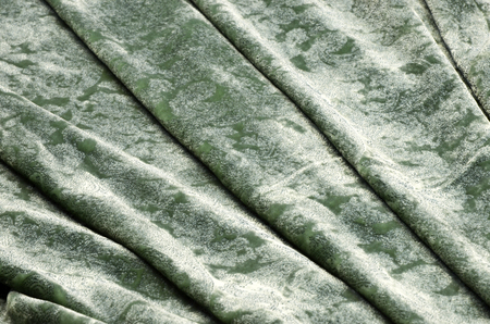 Silk viscose fabric. Velvet with blue pattern spraying on green.