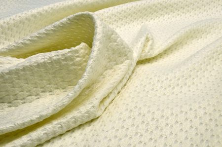 Polyamide fabric with wool and acrylic, ivory jacquard matlas