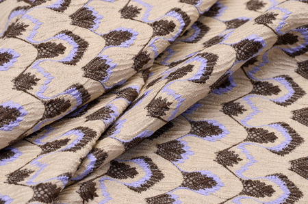 Jacquard with lilac - brown pattern from cotton, acetate and polyamide Stock Photo