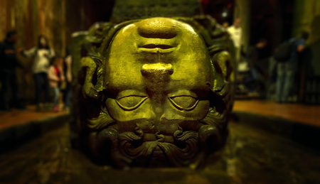 Gorgon Medusa. The Basilica Cistern is the largest of several hundred ancient water reservoirs