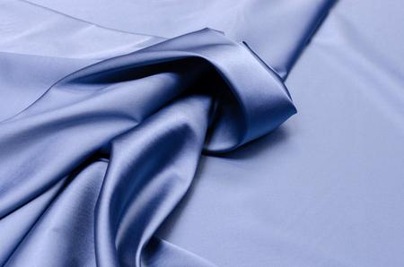 Satin silk fabric in light blue gray