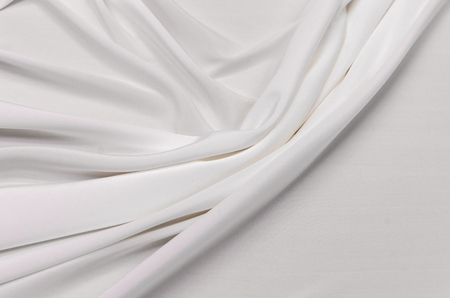 Silk fabric, crepe de chine, ivory stretch Stock Photo