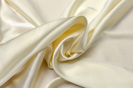 Silk, satin fabric, ivory color