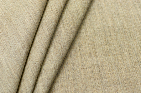 Beige silk fabric made of silk, wool and flax