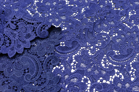 Lacy canvas of dark blue color made of wool and polyamide Stock Photo