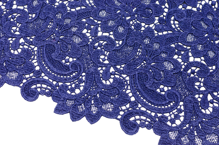 Lacy canvas of dark blue color made of wool and polyamide Imagens
