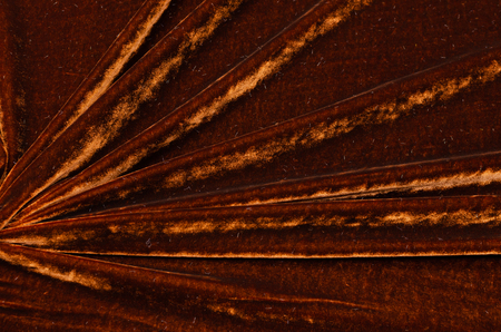 Brown silk viscose, velvet fabric