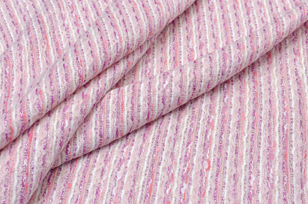Fabric tweed with lurex pink and milky with silver